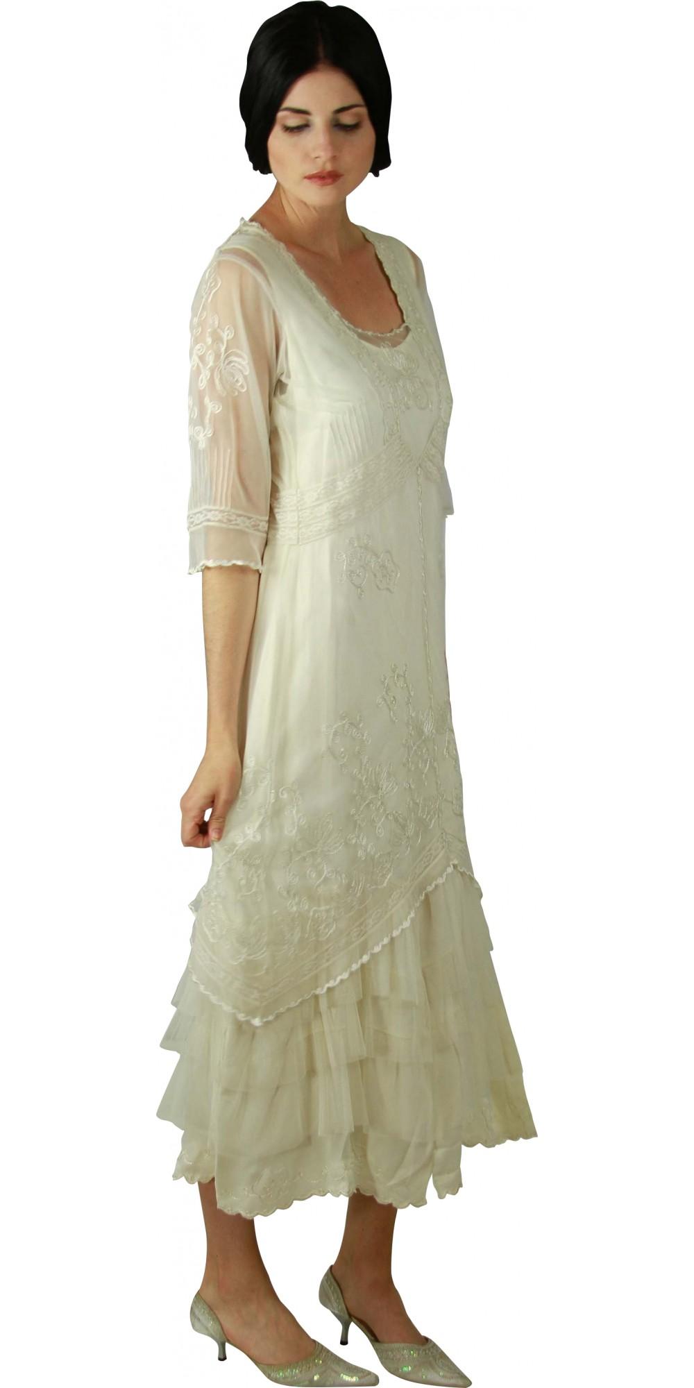 Al 2101 Titanic Tea Length Dress In Ivory