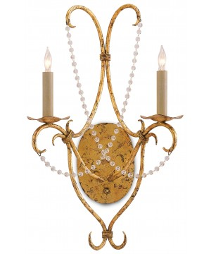 Crystal Lights Gold Wall Sconce by Currey and Company