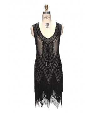 1920s Style Fringe Party Dress in Jet Crystal by The Deco Haus