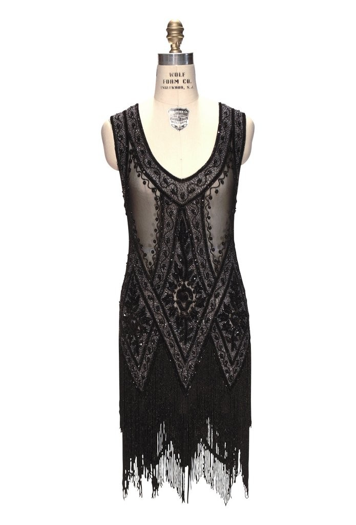 1920s Style Fringe Party Dress in Jet Crystal