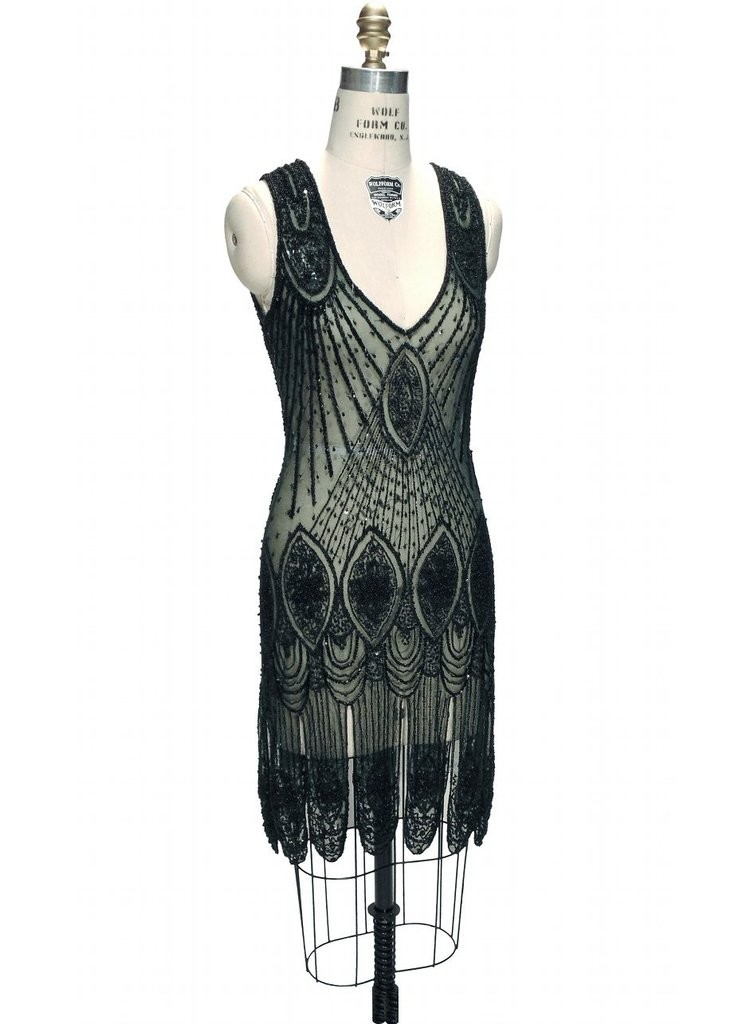 Great Gatsby Cocktail Dress in Bottle Green