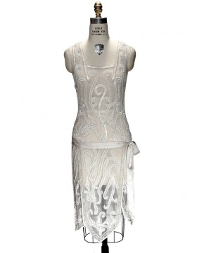 Art Nouveau Romantic Party Dress in Ivory by The Deco Haus