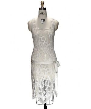 Art Nouveau Romantic Party Dress in Ivory by The Deco Haus
