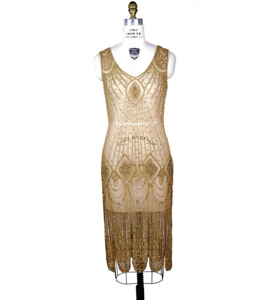 Great Gatsby Cocktail Midi Dress in Butterscotch Gold by The Deco Haus
