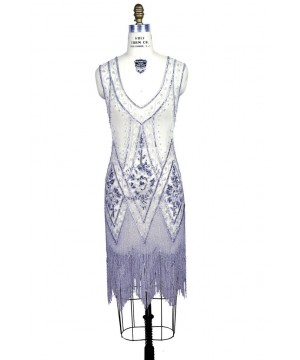 1920s Style Fringe Party Dress In Silver/White   SOLD OUT