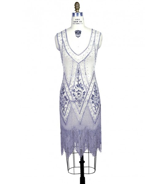 1920s Style Fringe Party Dress In Silver White By The Deco