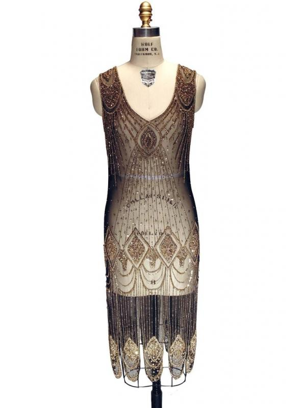 Great Gatsby Cocktail Midi Dress Gold/Black by The Deco Haus
