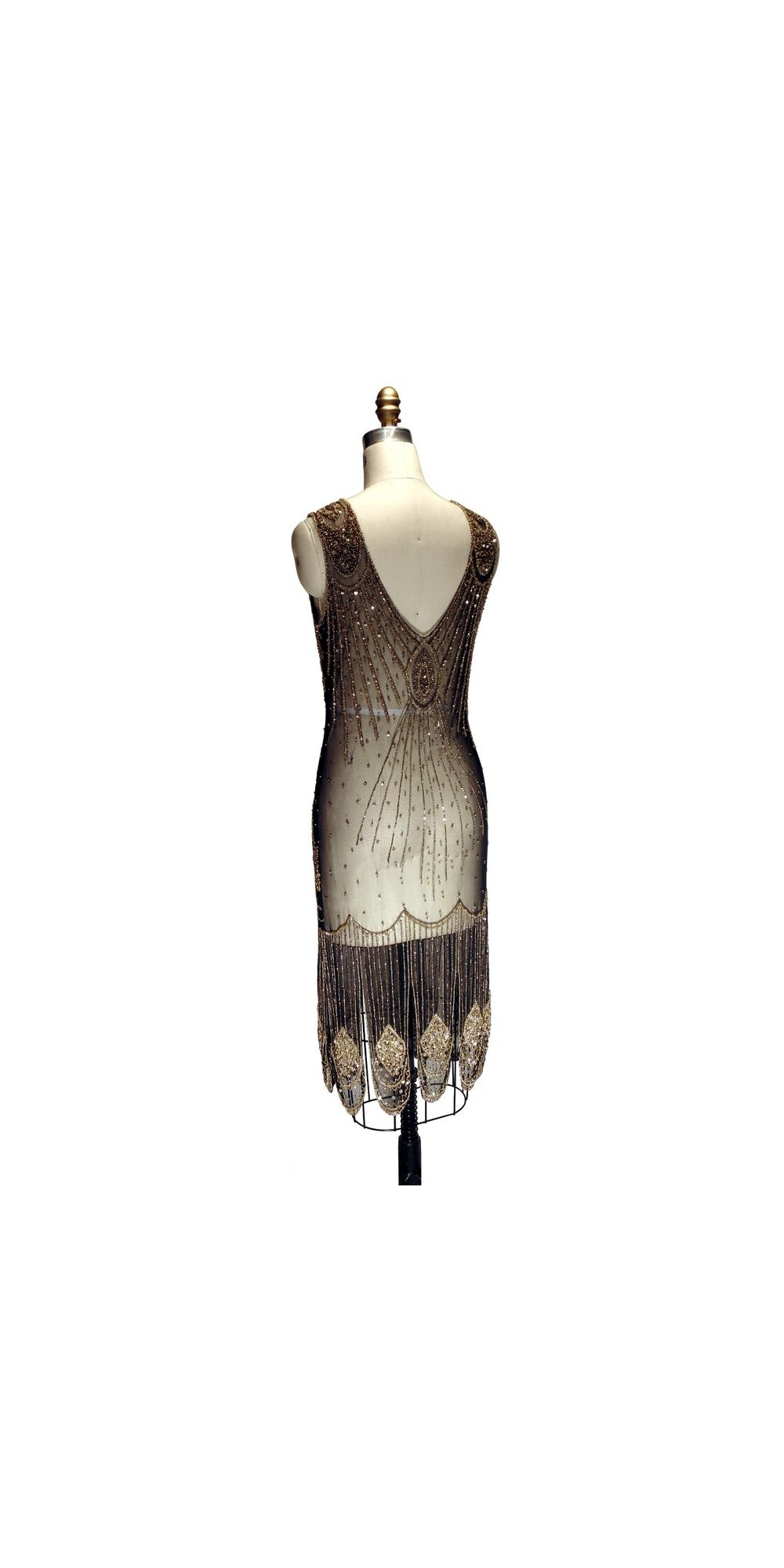 Great Gatsby Cocktail Dress Gold/Black by The Deco Haus