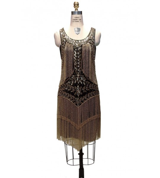 Roaring Twenties Cocktail Party Dress in Gold/Jet by The Deco Haus