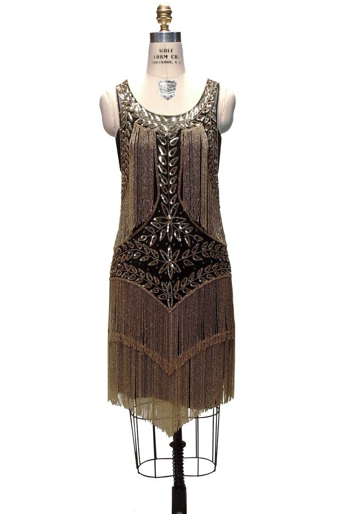 Roaring Twenties Cocktail Party Dress in Gold/Jet