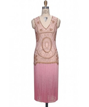 Old Hollywood Glamour Dress in Gold/Pink by The Deco haus