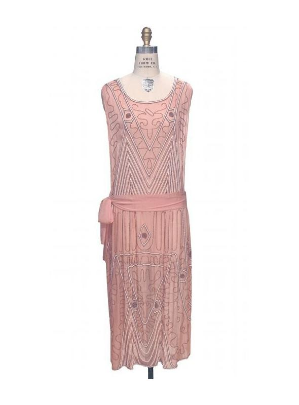 1920s Inspired Art Deco Dress in Blush by The Deco Haus