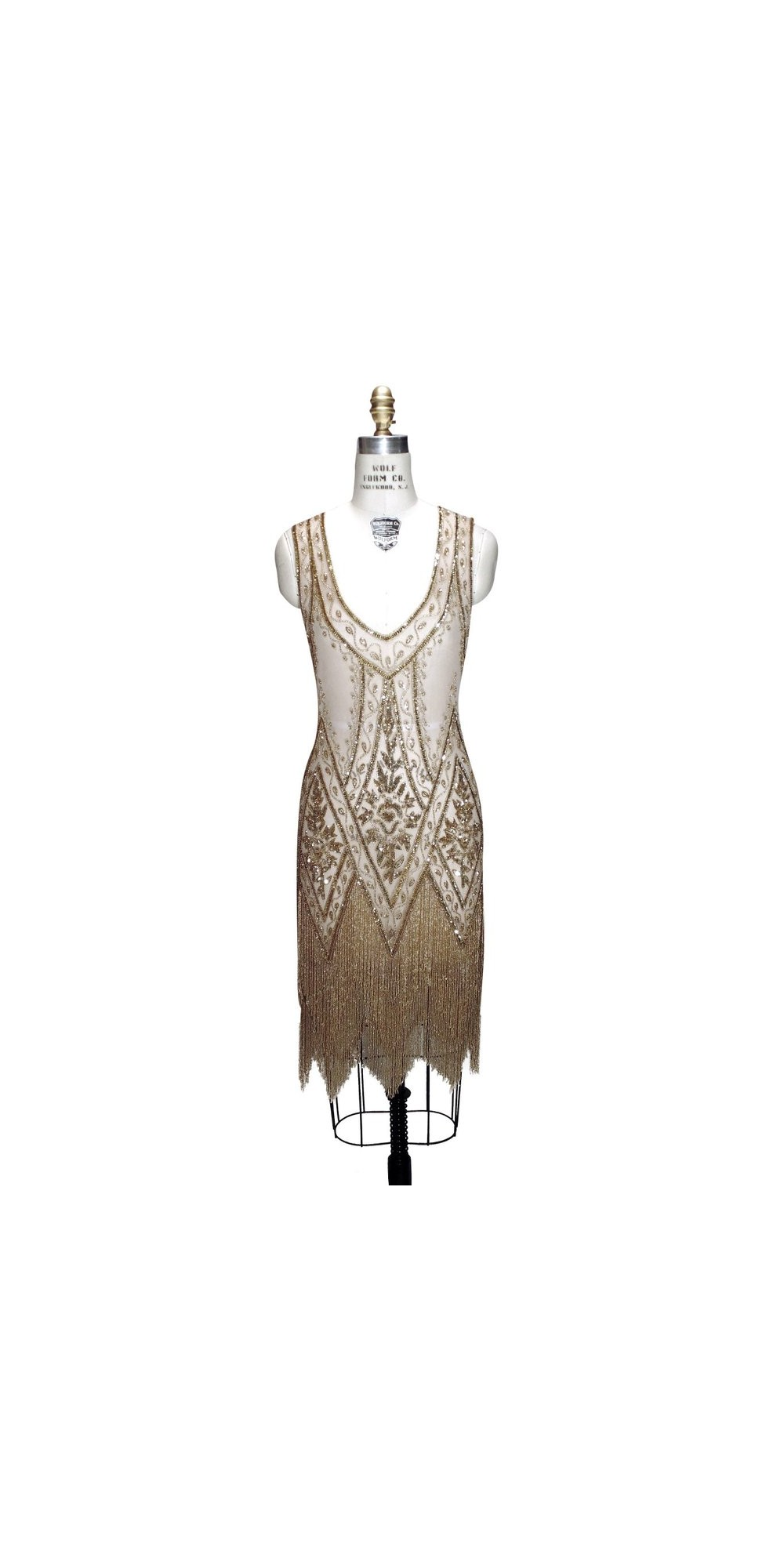 Wolf Haus Reggio Emilia 1920s style fringe party dress in gold by the deco haus