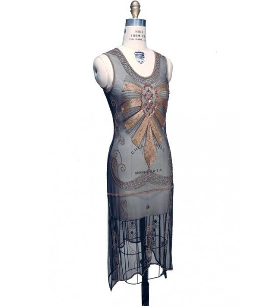Flapper Style Art Deco Party Dress in Kohl by The Deco Haus