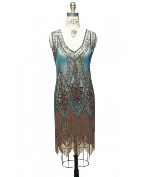 1920s Style Fringe Party Dress in Gold/Turquoise by The Deco Haus