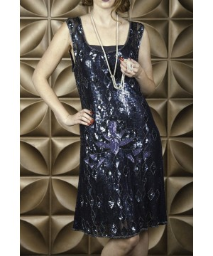 Vintage Inspired Art Deco Dress in Midnight by The Deco Haus