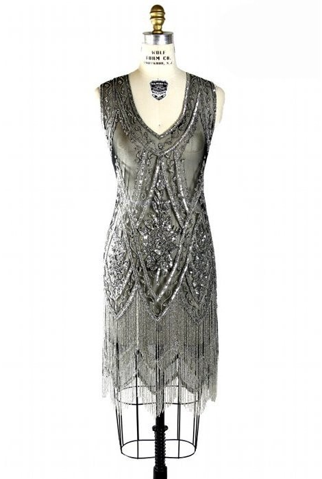 1920s Style Fringe Party Dress in Silver/Jet
