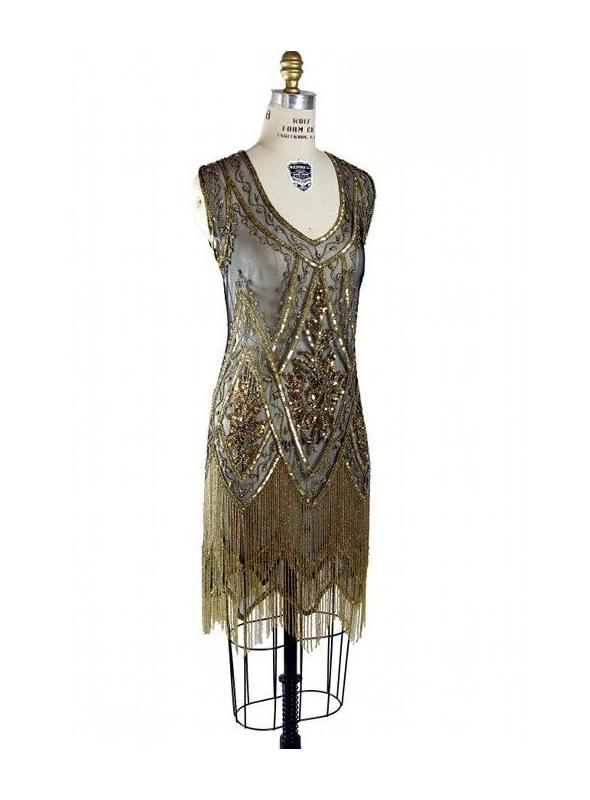 1920s Style Fringe Party Dress in Gold/Jet by The Deco Haus