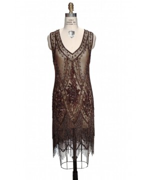 1920s Style Fringe Party Dress in Cocoa by The Deco Haus