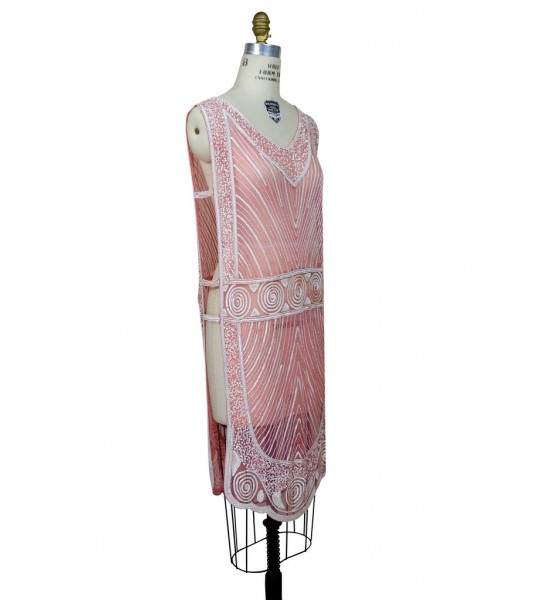 Great Gatsby Style Tabard Dress in Rouge Creme The Deco Haus
