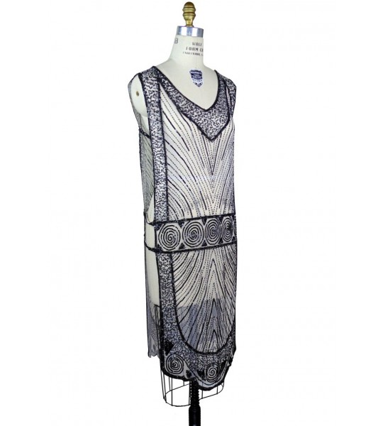 Great Gatsby Style Tabard Dress in Black/White by The Deco Haus