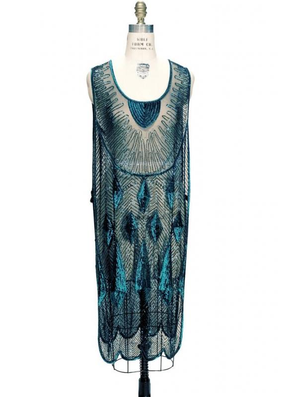 Art Deco Gemstone Party Dress in Tourmaline/Jet by The Deco Haus