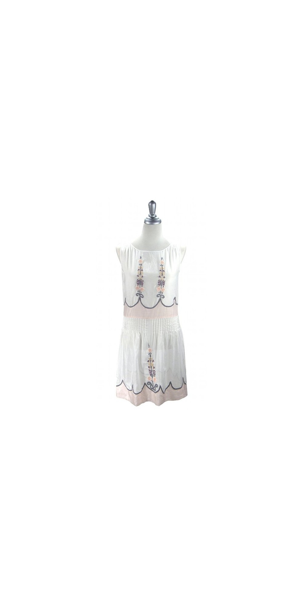 ff0db19241b 1920s Vintage Style Embroidered Dress in White by The Deco Haus