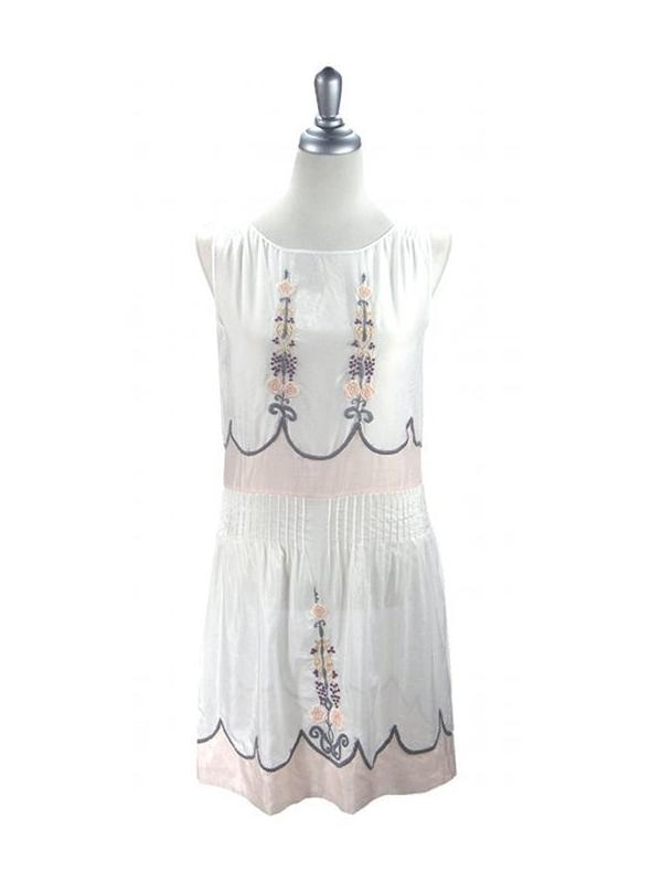 1920s Vintage Style Embroidered Dress in White by The Deco Haus