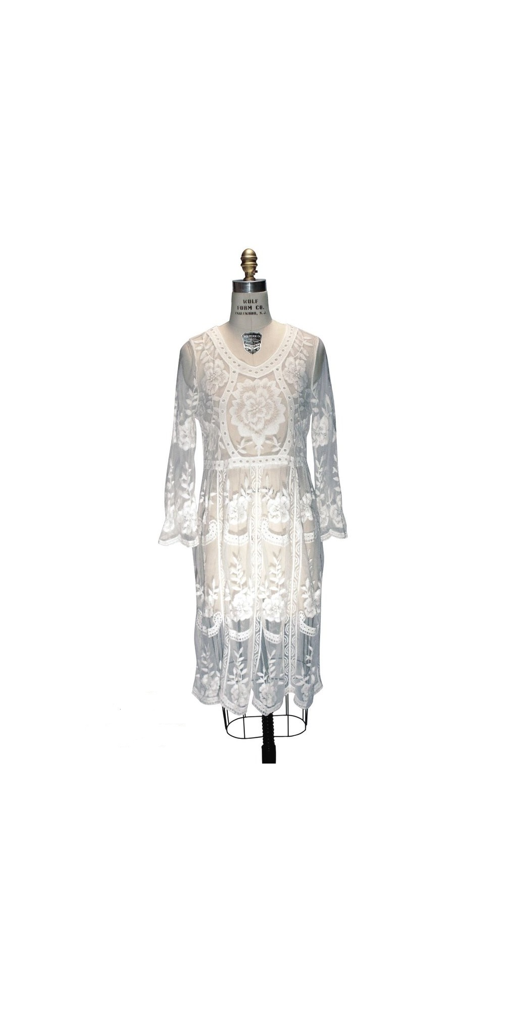 Wolf Haus Reggio Emilia 1920s inspired vintage lace bridal dress in white by the deco haus