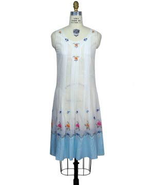 Vintage Style Floral Embroidered Dress in White by The Deco Haus