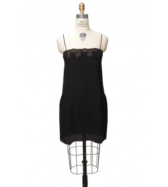 Charleston Silk Slip in Licorice Black by The Deco Haus