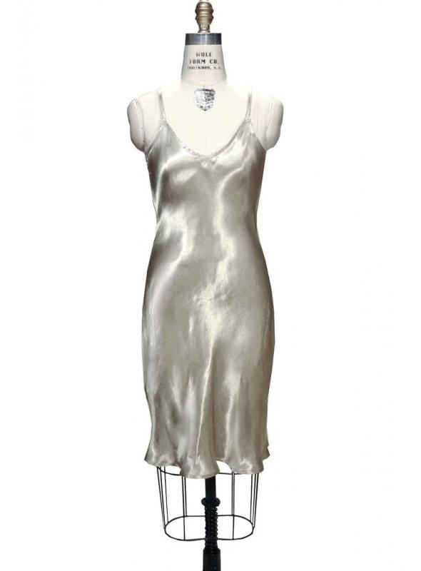 1930s Vintage Style Slip in Pale Gold by The Deco Haus