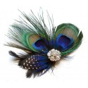 Flapper Style Peacock Rhinestone Fascinator