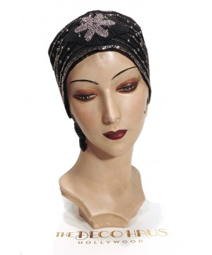 1920s Style Head Wrap Cummerbund in Black/Silver by The Deco Haus