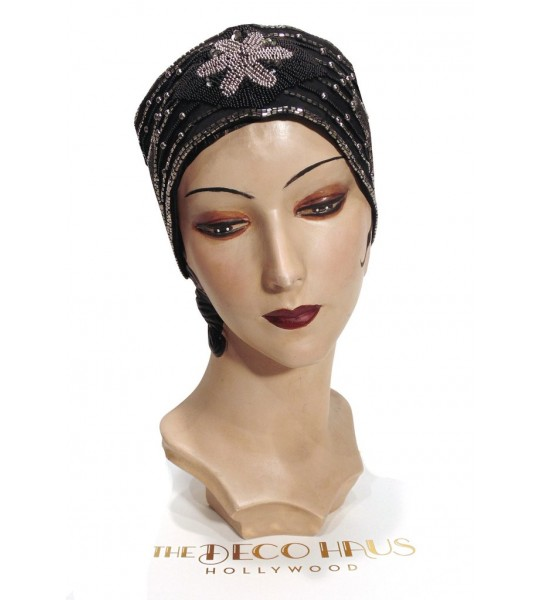 1920s Style Head Wrap Cummerbund in Black/Silver by The Deco Haus