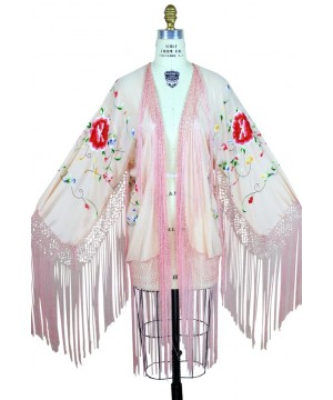 Flapper Style Embroidered Piano Shawl Jacket in Pink by The Deco Haus