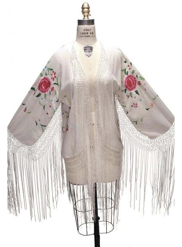 Flapper Style Embroidered Piano Shawl Jacket in White by The Deco Haus