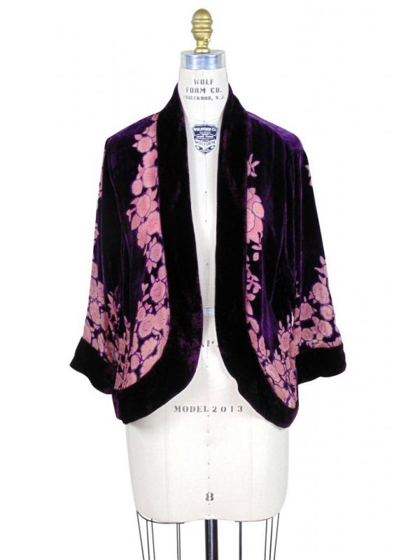 The Art Deco Bolero Smoking Jacket in Amethyst/Floral
