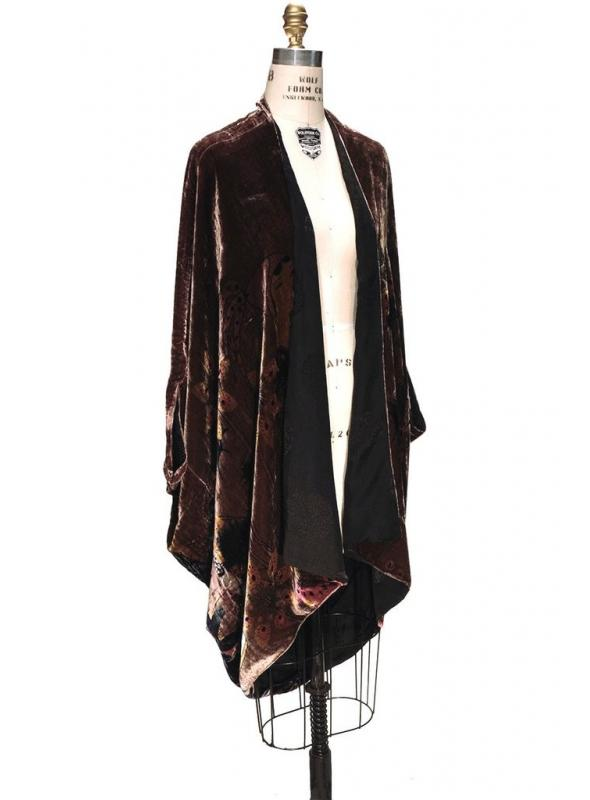 Art Deco Cocoon Poiret Batwing Jacket in Mahogany by The Deco Haus