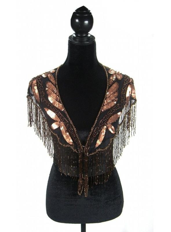 Great Gatsby Style Capelet in Copper/Jet by The Deco Haus