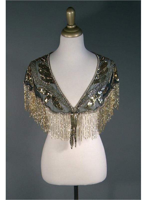 Great Gatsby Style Capelet in Gold/Jet by The Deco Haus