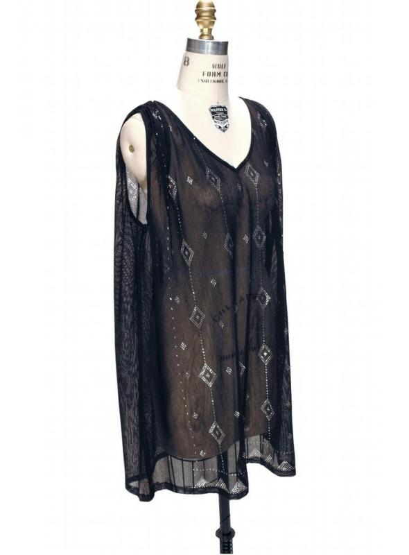 Gatsby Inspired Tunic Dress in Silver/Black by The Deco Haus