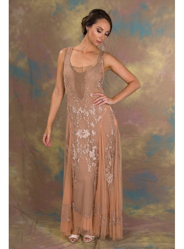 Enchanting Ivy Dress in Peach/Beige by Nataya