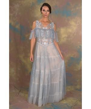 Lady of the Fog Dress in Blue Topaz/Blush by Nataya