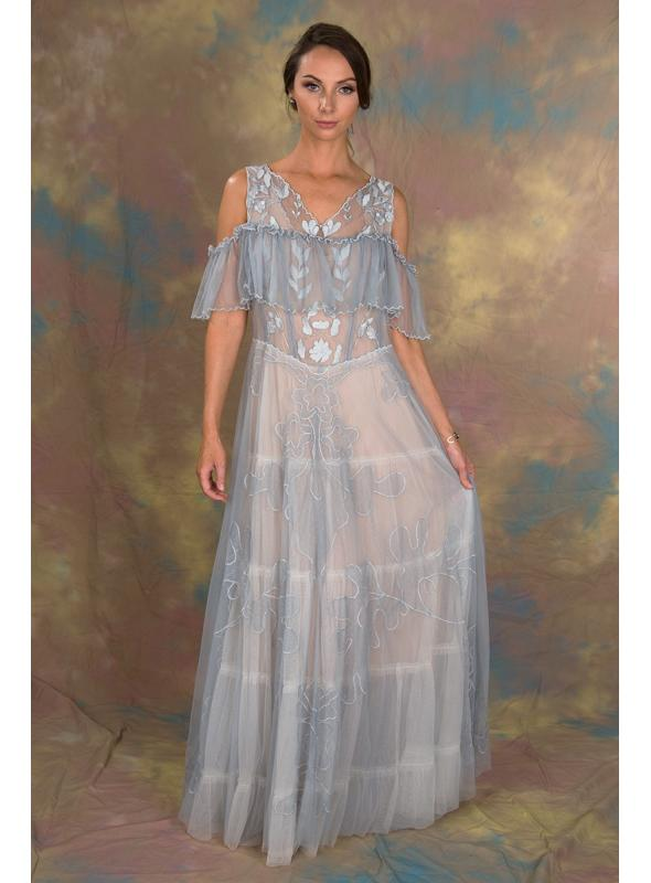 Lady of the Fog Dress in Blue Topaz/Blush by Nataya