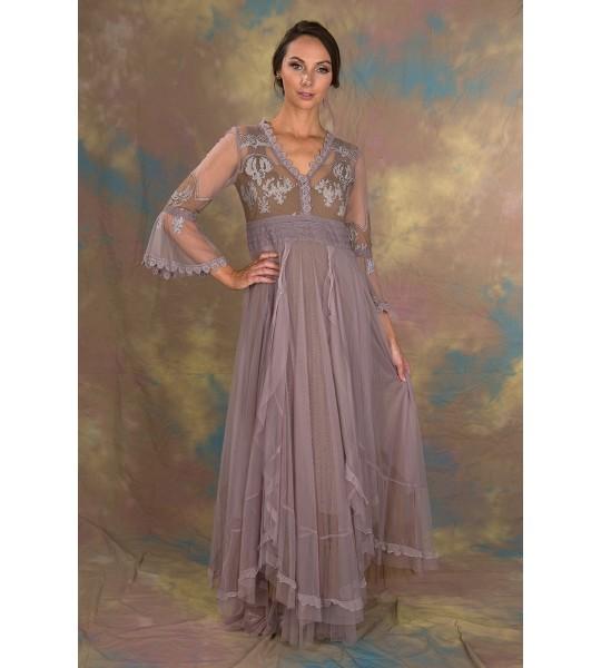 Bohemian Pompadour Dress in Lavender/Beige by Nataya