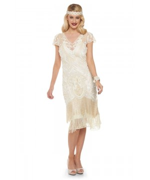 Art Deco Fringe Party Dress in Cream