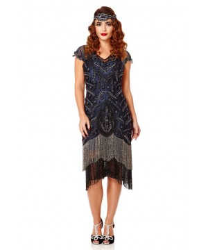 Art Deco Fringe Party Dress in Black Navy