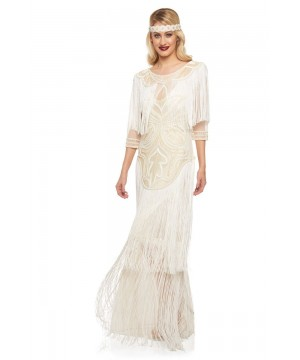 1920s Inspired Evening Maxi Dress in Cream