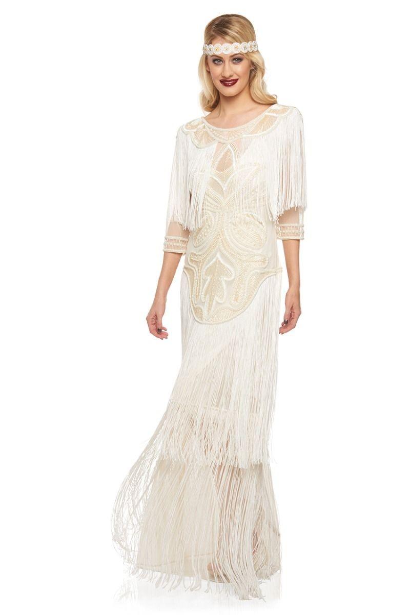 1920s Inspired Evening Maxi Dress in Cream